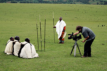 Director Toby McLeod at work in sacred Dorbo Meadow, in the Gamo Highlands of Ethiopia in 2008.