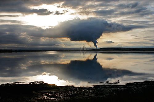 Alberta, Canada — plume over tailings <br> © 2010 Christopher McLeod