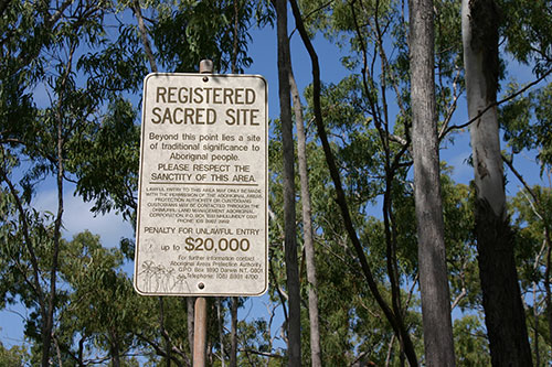 Sign marking a sacred site in Australia's Northern Territory. © 2007 Christopher McLeod