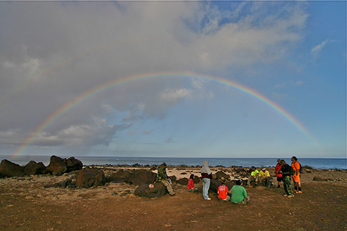 A rainbow appeared at a sacred point known as Kealaikahiki in June during our first film trip to the island. A rainbow appeared at a sacred point known as Kealaikahiki in June during our first film trip to the island. © 2010 Christopher McLeod